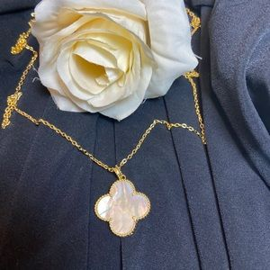 Mother of Pearl Clover 18KT Gold Long Necklace